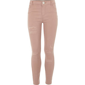 Girls pink Molly ripped skinny jeggings