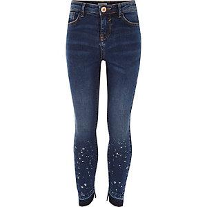 Dunkelblaue Skinny Jeans mit Farbtupfern