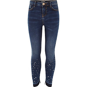 Girls dark blue paint splatter skinny jeans