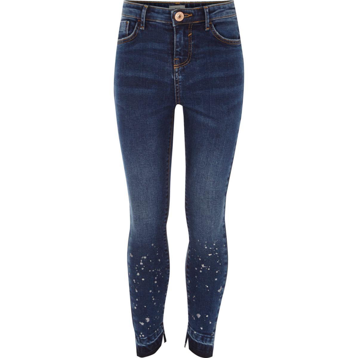 Girls dark blue paint splatter skinny jeans