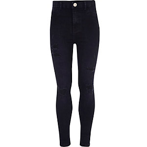 Girls dark blue distressed Molly jeggings