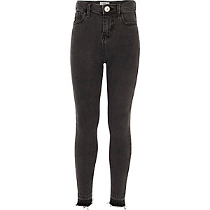 Girls black Amelie super skinny jeans