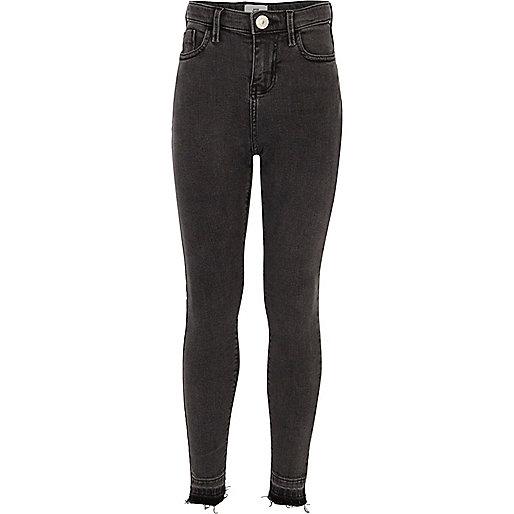 Girls black Amelie ripped super skinny jeans