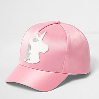 Girls pink satin unicorn baseball cap