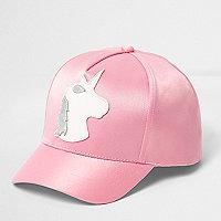 Girls pink satin unicorn baseball cap