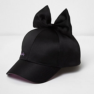 Girls black satin bow baseball cap