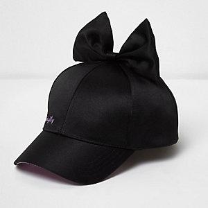 Girls black satin bow baseball cap