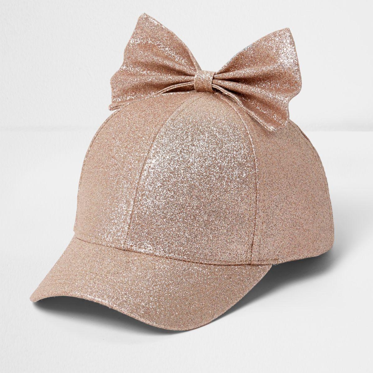 Girls rose gold glitter bow baseball cap