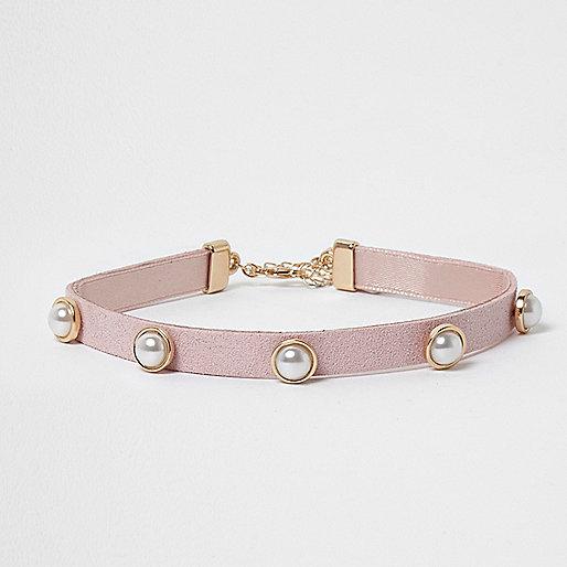 Girls pink gold tone faux pearl choker
