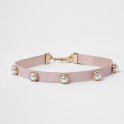 Girls pink gold tone faux pearl choker