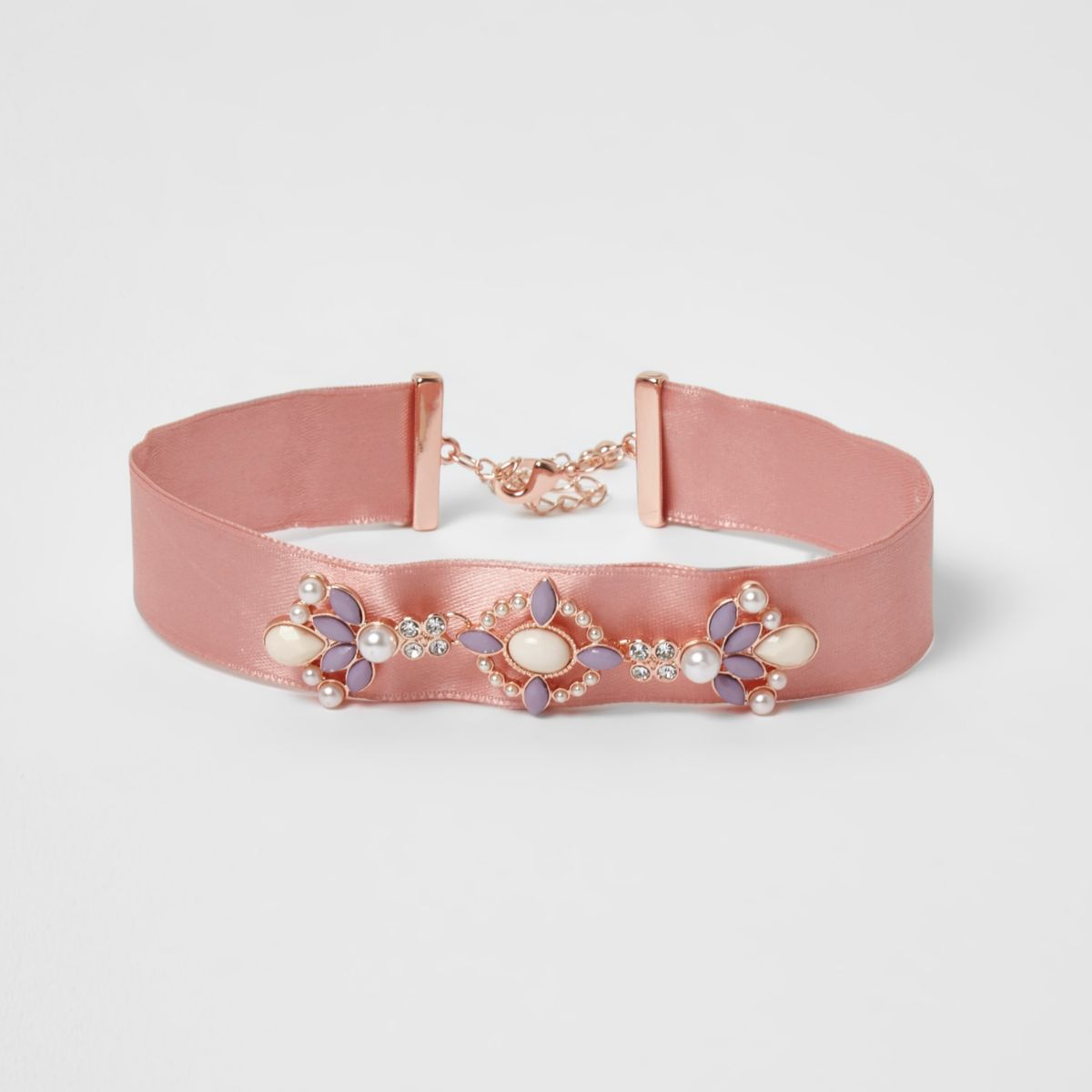 Girls pink embellished ribbon choker