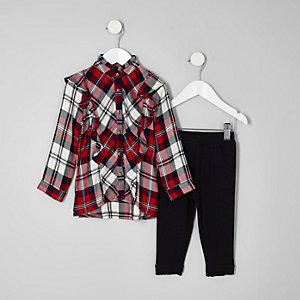 Ensemble legging et chemise à carreaux mini fille