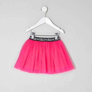 Mini girls fluorescent pink tutu skirt