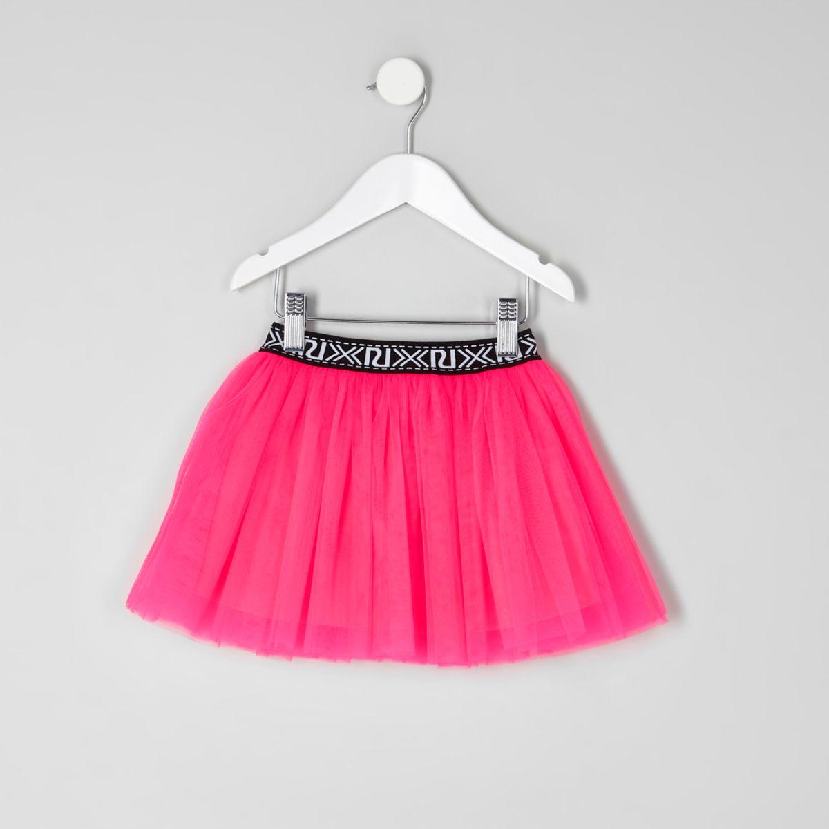 Mini girls fluorescent pink tutu skirt