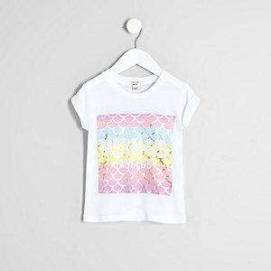 Mini girls white 'mermaid fanclub' T-shirt