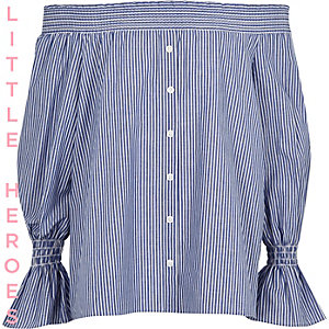 Girls blue stripe long sleeve bardot top