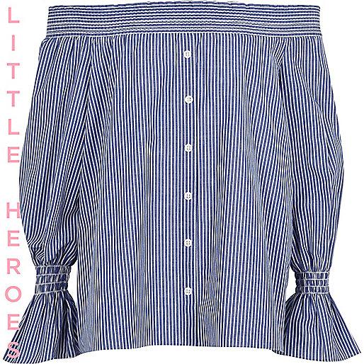 Girls blue stripe long sleeve bardot top