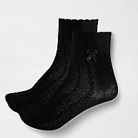 Girls black cable knit socks pack