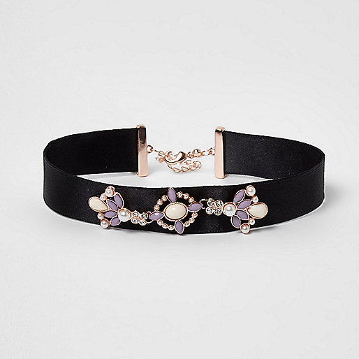Girls black embellished ribbon choker