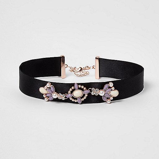 Girls black embellished ribbon choker