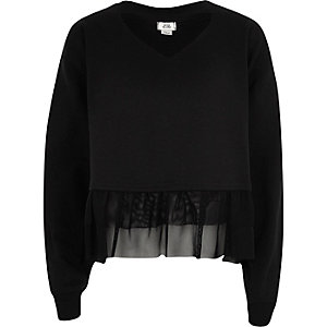 Girls black frill hem long sleeve sweatshirt