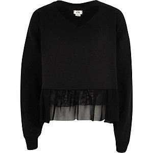 Schwarzes Sweatshirt mit Rüschensaum
