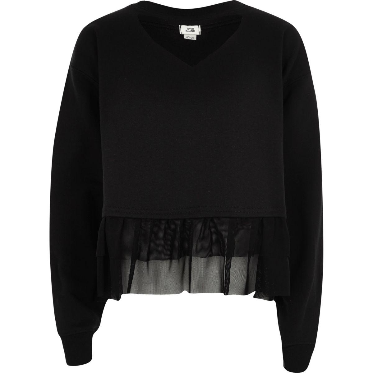 Girls black frill hem long sleeve sweatshirt