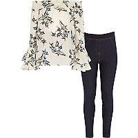 Girls cream floral top and jeggings outfit