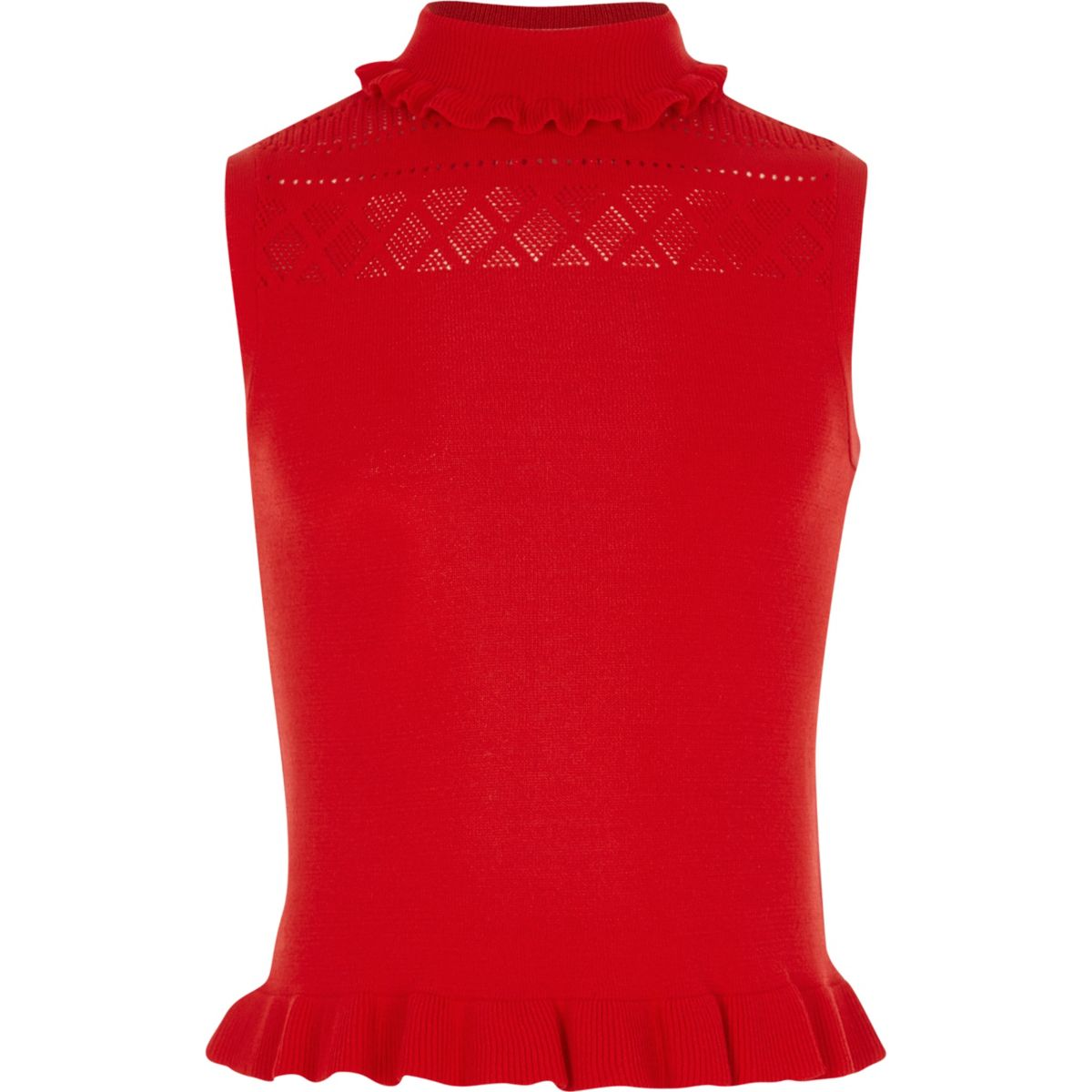Girls red knit pointelle high neck top