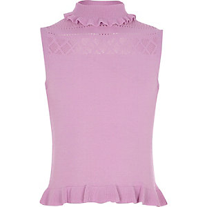 Girls purple knit pointelle high neck top