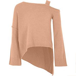 Roze schouderloze asymmetrische pullover voor meisjes