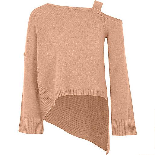 Girls pink cold shoulder asymmetric jumper