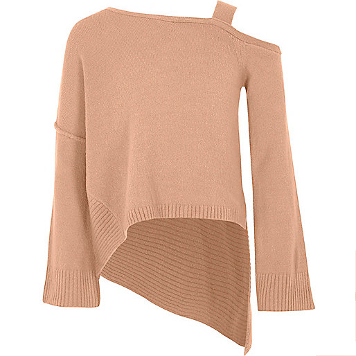 Girls pink cold shoulder asymmetric sweater