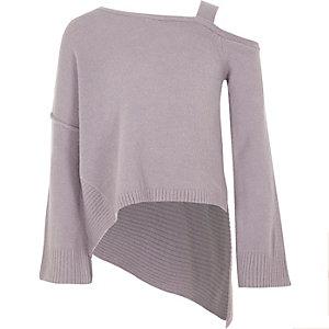 Asymmetrischer Pullover in Lila mit Schulterausschnitten
