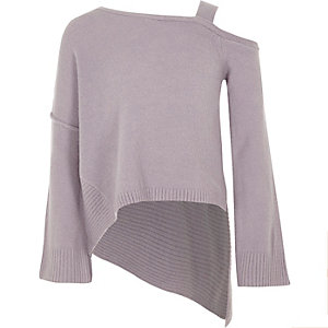 Girls purple cold shoulder asymmetric sweater