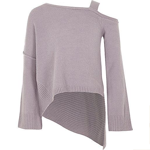 Girls purple cold shoulder asymmetric jumper