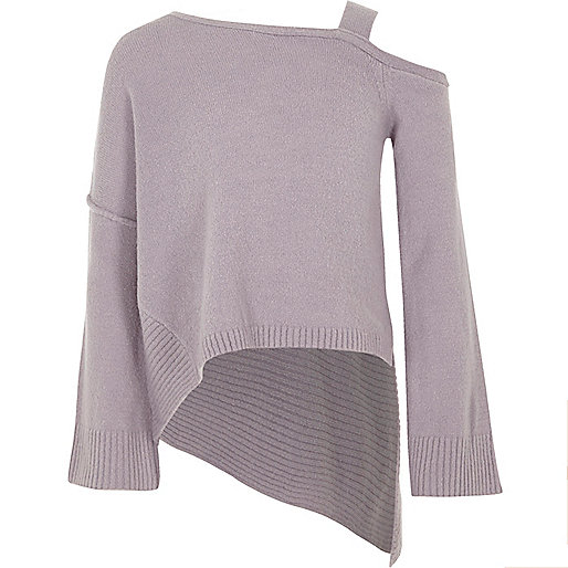 Girls purple cold shoulder asymmetric sweater
