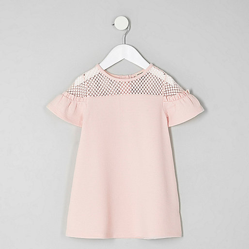 Mini girls pink lace ruffle sleeve dress