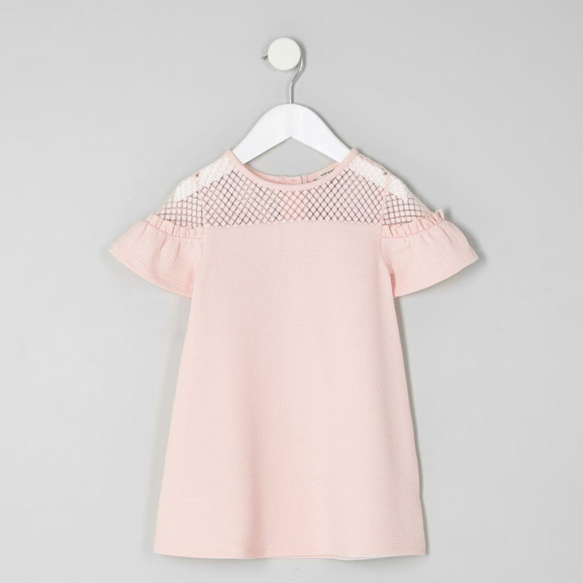 Mini girls pink lace ruffle sleeve dress