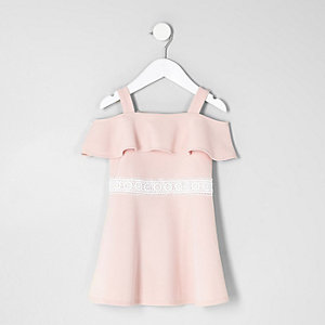 Mini girls pink bardot frill dress