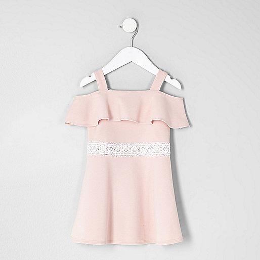Mini girls pink bardot frill dress