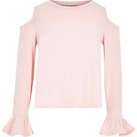 Girls pink knit cold shoulder frill top