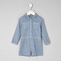Combi-short bleu à manches longues mini fille