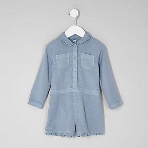 Mini - Blauwe playsuit met lange mouwen voor meisjes