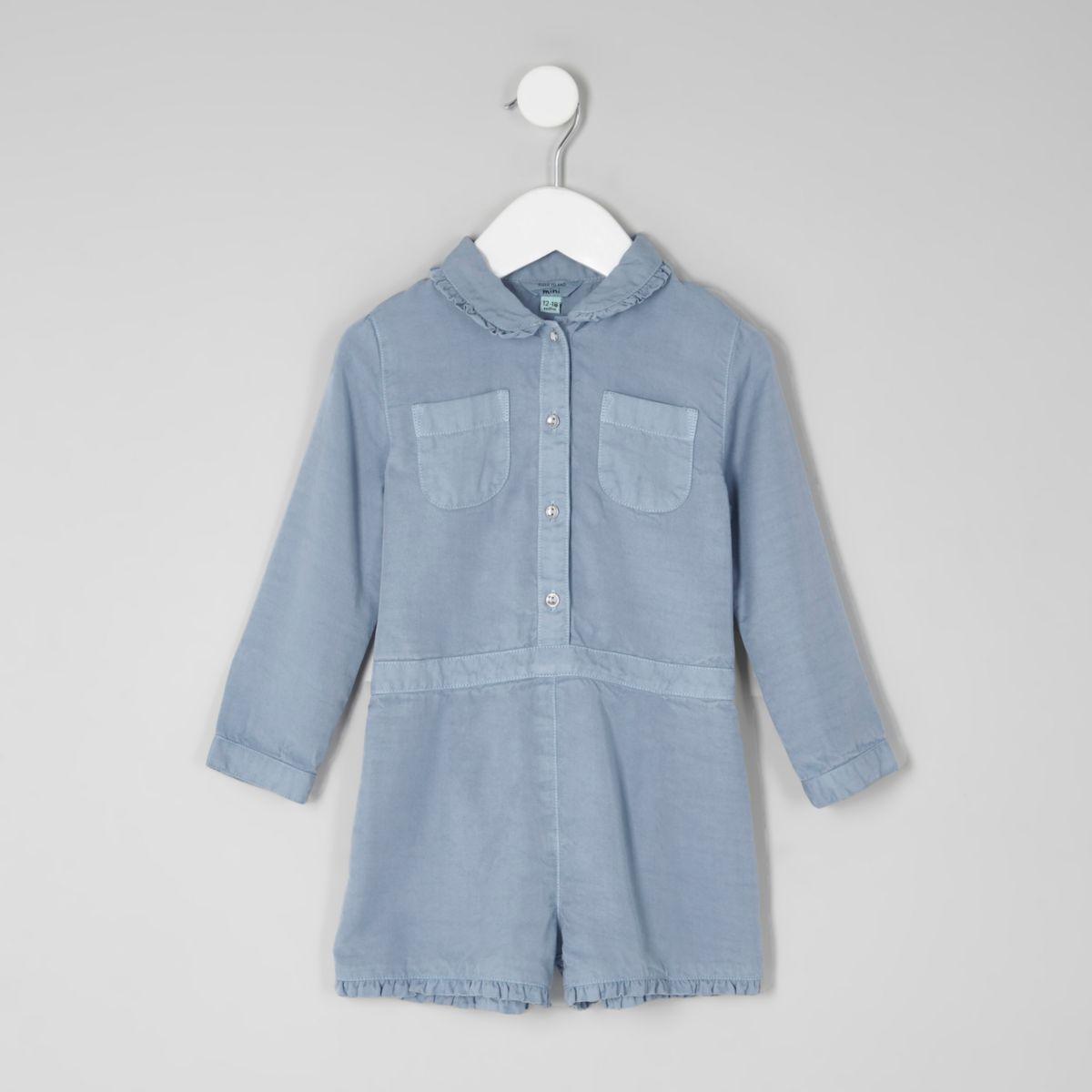 Mini girls blue long sleeve romper