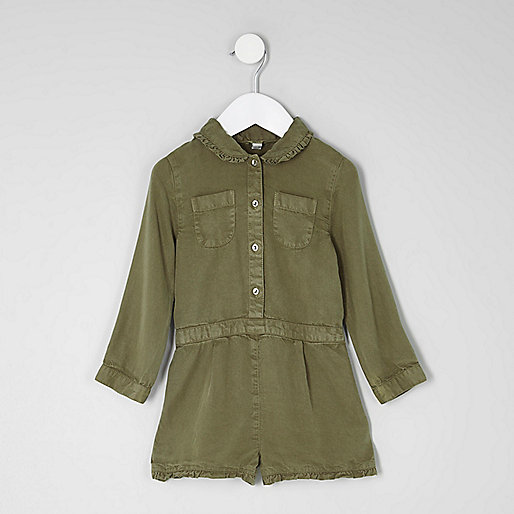 Mini girls khaki long sleeve playsuit