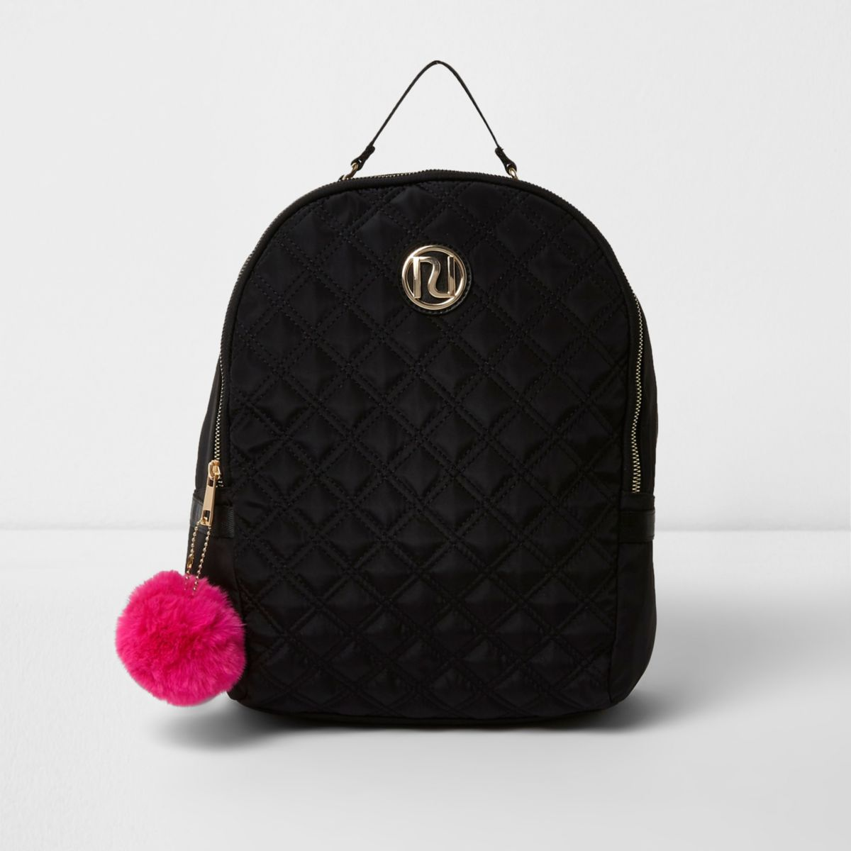 Girls black RI quilted backpack with pom pom