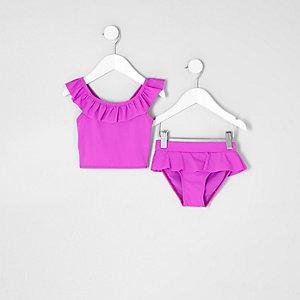 Tankini violet à volants mini fille