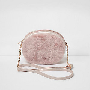 Girls pink faux fur oval cross body bag
