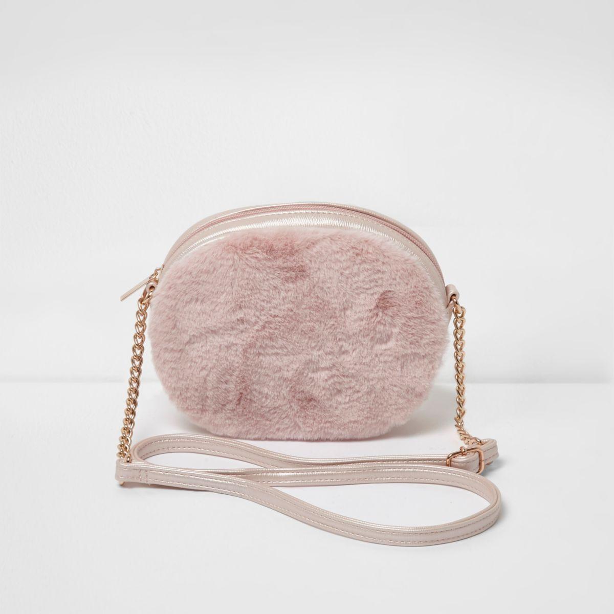 Girls pink faux fur oval cross body bag